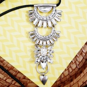Lucky Brand Necklace Silver Diamond Leather Cord